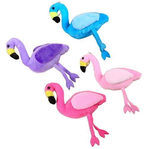 Amosfun 4 llaveros con diseño de flamencos, llaveros, llaveros, llaveros, peluches, llaveros, mochilas, bolsos, decoración, para niñas, mujeres y niños