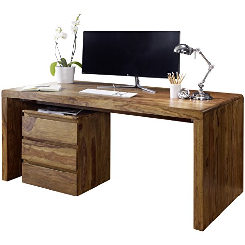 WOHNLING Schreibtisch BOHA Massiv-Holz Sheesham Computertisch 140 cm breit Echtholz Design Ablage Büro-Tisch Landhaus-Stil Büromöbel Modern Büroeinrichtung