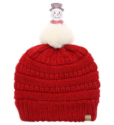 MIRMARU Kids Boys & Girls Winter Soft Warm Knitted Beanie Hat with Faux Fur Pom Pom for Ages 7-12 (Snowman Pom - Red)