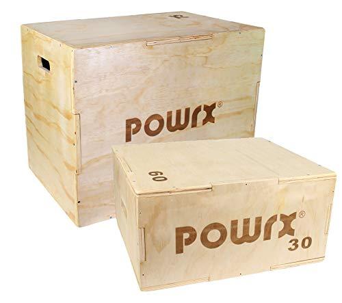 POWRX Caja pliométrica Ideal para Aumentar la Fuerza y Masa Muscular - Base y Superficie ANTIDERRAPANTES - Material 100% Madera (Large 75 x 50 x 60 cm)