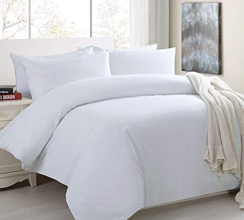 White 400 Thread Count Duvet Cover 100% Egyptian Cotton Hotel Quality Quilt Bedding Set UK (Single 400 Thread Count Duvet)