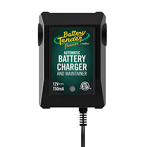 Battery Tender Junior 12V, 750mA Battery Charger and Maintainer: Automatic Powersports Battery Charger for Motorcycles, ATVs, and More - 021-0123