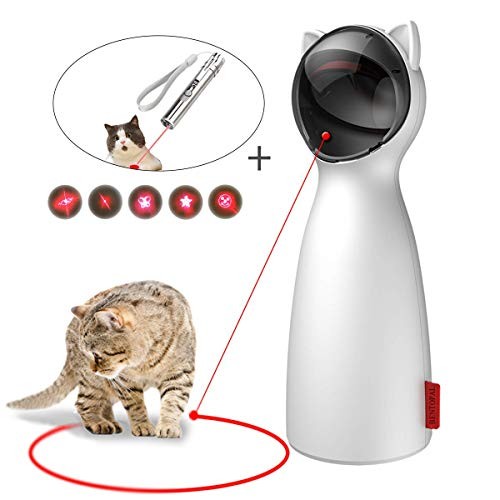 EKOHOME Interactive Cat Laser Toy- Pet Laser Pointer for Kitten/Dogs, USB Charging Automatic Rotating, Auto Shutdown/Startup for Catch Training, 5 Adjustable Rotating Height/Range, Cat Exercise Toys