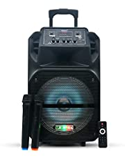 FLEXY® Germany FQ77TR 20000W 2 -Way Portable PA Trolley Speaker With FM, 2 Wireles Mics, Rechargeable Battery, Bluetooth, Remote, SD Card & USB functions