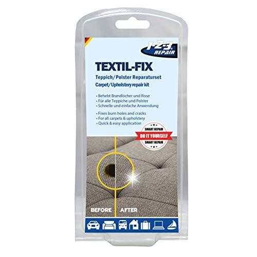 1-2-3REPAIR Set de reparacion tapiceria y alfombras para tapizar agujeros cortes quemaduras 13 piezas