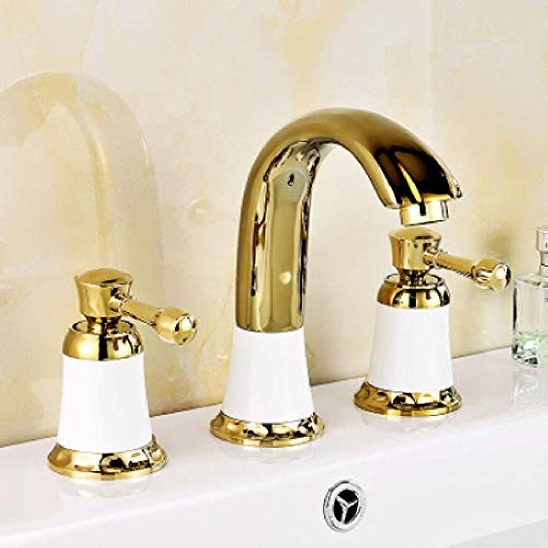 Giow Küchenarmaturen Europischen Goldenen Braten wei lackiert Badezimmerschrank Waschbecken Waschbecken Split Wasserhahn Wasserhahn (Farbe  A)