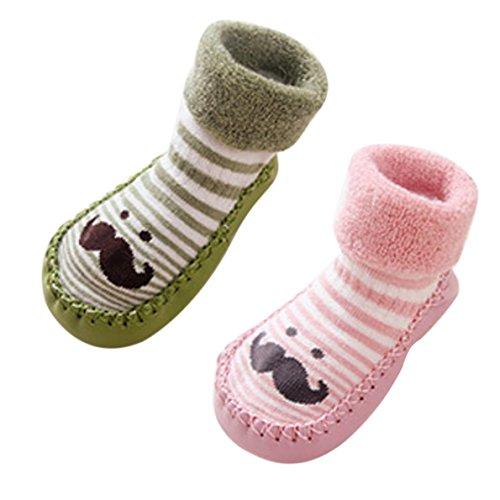 Happy Cherry - Socks for Baby Homwear Socks para Bebé Niñas Calcetines para Niños Antideslizantes Zapatos Anti-slip Suave Transpirable Calentito Práctico para Recién Nacido - 1-2 Años - Verde Rosa