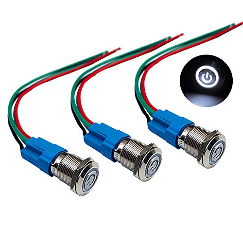 QitinDasen 3Pcs Premium 12V / 24V 3A Interruptor de Botón Autoblocante, 12mm Interruptor de Botón Metálico, LED Blanco Interruptor Pulsador Impermeable IP66 con Enchufe de Cable