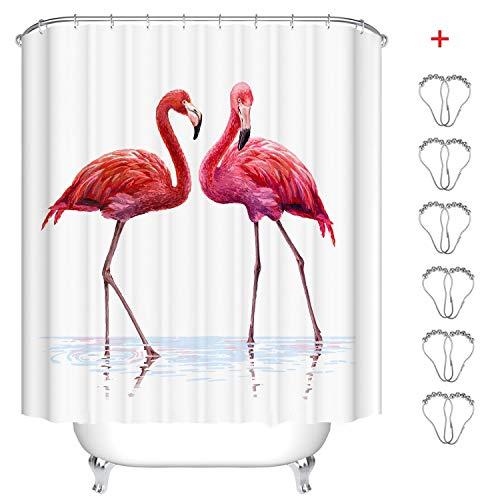 MIN-XL Duschvorhang Anti-Schimmel Textil Waschbar Anti-Bakteriel Badvorhänge 3D Wasserdicht Duschvorhänge mit 12 Edelstahl Duschvorhangringe für Badezimmer (EIN Paar Flamingos, 180 x180 cm)