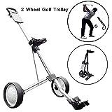 MJLXY Chariot a 2 Roues Chariot de Golf a Pousser a Tirer avec Poignée Réglable Angle Scorecard Holder Frein Chariot de Golf Pliant