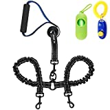haapaw Two Dog Leash Coupler - 2 Dog Leash Tangle Free, Stretchable from 20 to 35 Inch – Comfortable Handle Dual Dog Leash for 2 Dogs with a Free Collapsible Dog Bowl (Black/Blue)