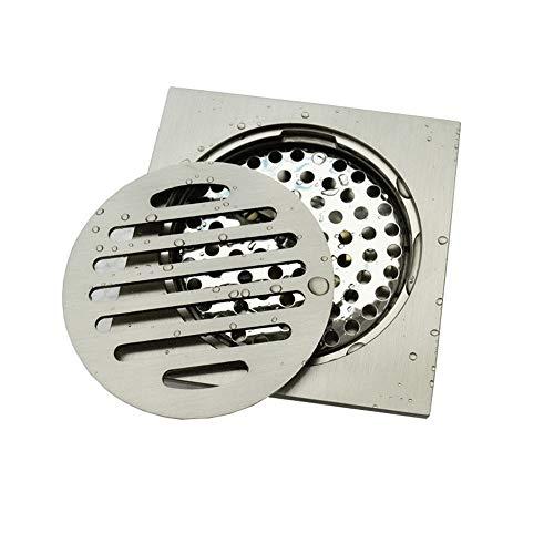 Feixunfan Bodenablauf Badezimmer Duschrinne Quadrat Spülbecken Abfluss for Anti-Clog Toiletten Und Tiefgarage (Silber) für Badezimmer Duschraum Toilette (Color : Silver, Size : 10 x 10 x 4.6 cm)
