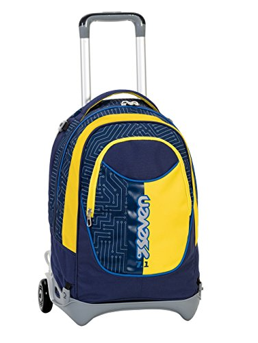 3en1 - Sac à dos à roulettes SEVEN NEW JACK - CIRCUIT - bleu jaune - 35 LT - école et voyage