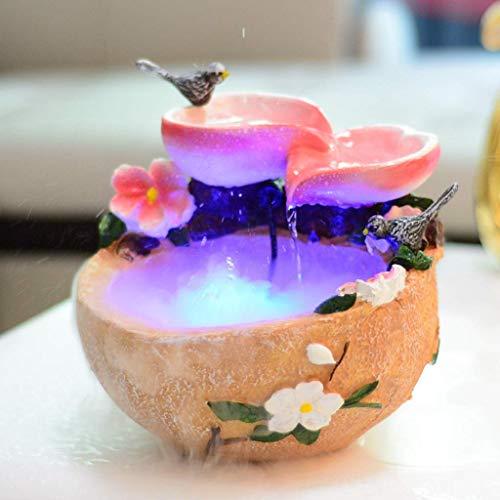 QULONG Fuente Interior Fuente de Resina Multicolor para pájaros y Ramas Fuente...