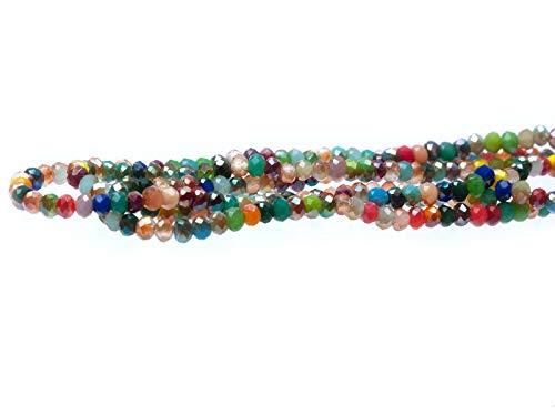 Creative-Beads Glasperle, Schliffperle, zum fädeln Radl ca.3x2mm 5 Stränge ca.900 Glasperlen, bunt gemischt
