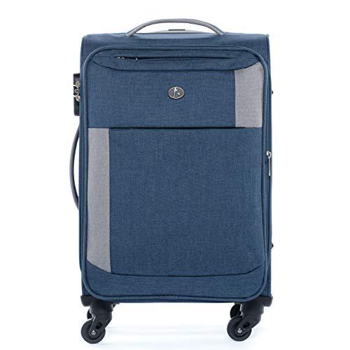 FERGÉ Handgepäck-Koffer erweiterbar Saint-Tropez Bordgepäck-Trolley Weichschale 55 cm erweiterbar Stoffkoffer Kabinentrolley 4 Rollen grau