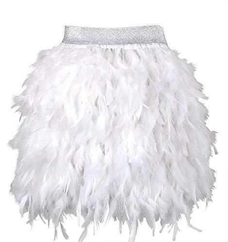 L'VOW Falda gtica de plumas mini para mujer, cintura elstica, falda de pluma, disfraz de carnaval Blanco M