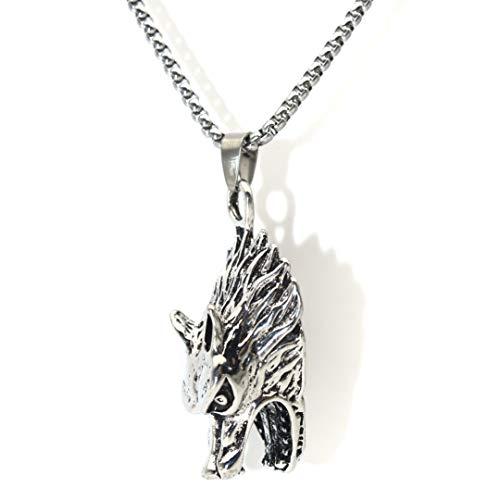 Collar para hombre con colgante de cabeza de lobo vikingo nórdico con cadena de 25,6 pulgadas, collar de lobo rubio, vintage, estilo punk, joya para regalo