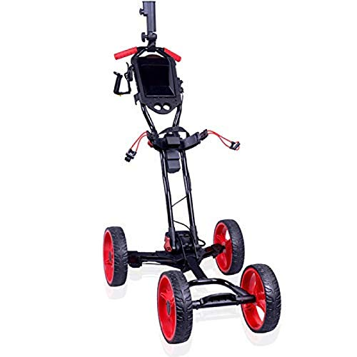 YAOJIA Golf carts Electric Foldable Golf Trolley | 4 Wheel Push Pull Cart with Cup Holder Adjustable Push Handle |One Second to Open/Close Golf Push cart