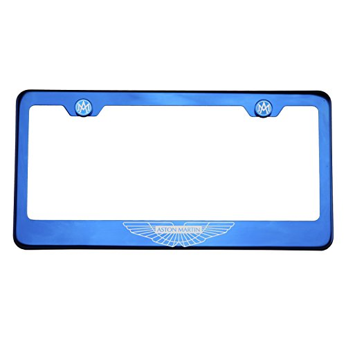 One Fit Aston Martin Logo on Blue Chrome Stainless Steel License Plate Frame Holder Front Or Rear Bracket Laser Engrave Aluminum Screw Cap