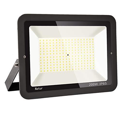 200W LED Foco Exterior Alto Brillo Proyector Led Impermeable IP65 Blanco Frío 6000K Floodlight Led Foco Exterior Iluminación para Patio, Camino, Jardín, Almacén [Clase de Eficiencia Energética A++]