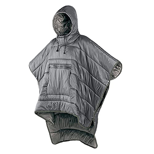 iBasingo Men Women Winter Wearable Hoodie Poncho Lazy Blanket Warm Cover Coat Small Quilt Ultralight Sleeping Bag Windproof Water-resistant Cloak Cape for Camping Outdoor Climbing Travel NH18D010-P