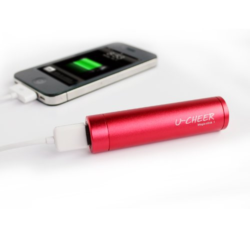 U-Cheer Magicstick I - Universal Mobile USB Power Bank Portable Device Charger for iPhone 6/6 plus/5/5S/5C, iPhone 4, iPhone 3/3G, iTouch, iPod, HTC, Samsung, Android Smartphone (Red)