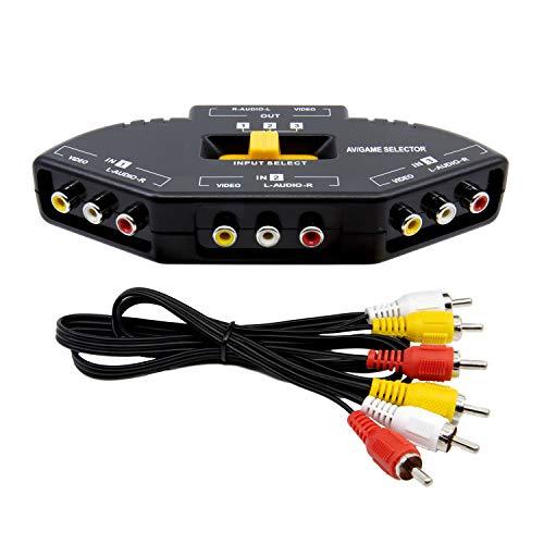 DIGIFLEX Nuevo conmutador selector de Audio RCA 3 Puertos A/V Centro de conexión para Xbox, PS2, DVD