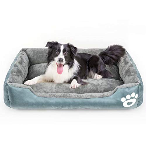 Calming Dog Bed, Warming Washable Rectangle Sleeping Orthopedic Sofa Pet Bed with Breathable Soft Cotton and Coral Fleece, Non-Slip Bottom for Large Medium Small Dogs and Cats.. Buy it now for 45.99