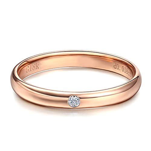 Daesar Anillo Oro Rosa Mujer 18 Kilates Redondo Pulido Diamante Blanco 0.18ct Talla 15