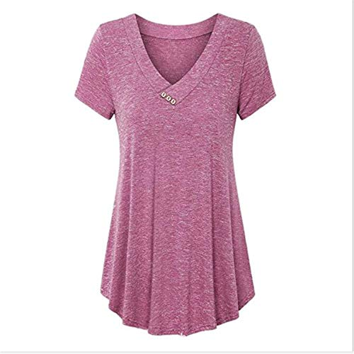 x8jdieu3 Shirt Summer V-Neck Button Solid Color Collage Stitching Multicolor Large Size Street Hipster Short-Sleeved Shirt T-Shirt Female Rose Red