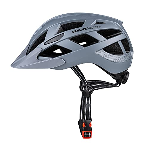 SUNRIMOON Adult Bike Helmet for Men Women, Bicycle Helmets with Rechargeable USB Light & Detachable Visor for Road Cycling Mountain Biking, Adjustable Size, 22.44-24.41 Inches