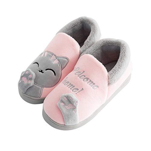 FPXNBONE Flauschiges Plüschfutter Slip-On Hausschuhe, Paar Slipper, Baumwolle, Winter, warm, Rosa, 35–36, rutschfeste Hausschuhe, atmungsaktive Indoor-Schuhe