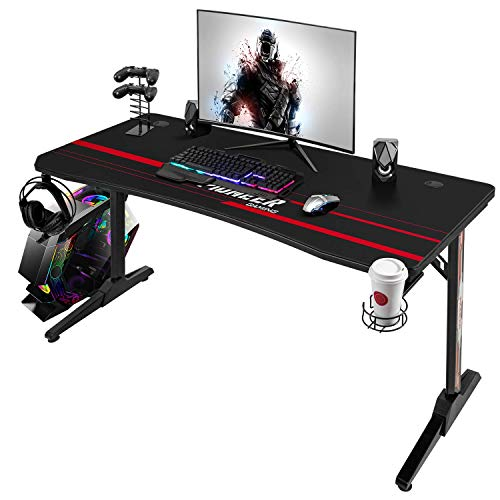 Devoko 44 Inch Gaming Desk T-Shaped PC Computer Table with Free Mouse Pad Carbon Fibre Surface Home Office Desk Gamer Table with Game Handle Rack Headphone Hook and Cup Holder (Carbon Fiber Black)