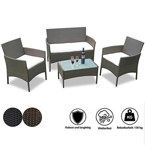 wolketon Gartenmöbel Set Hohe Qualität Poly Rattan Sitzgruppe Brown Lounge Set Mit 2-er Sofa, Singlestühle, Tisch und Sitzkissen