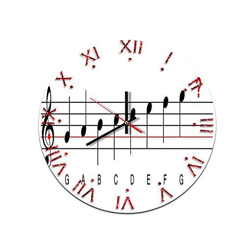 LUOYLYM Nota Musical Sala De Estar Hogar Creativo Reloj De Pared Reloj Acrílico Decoración De Pared Reloj De Pared Mudo Movimiento Reloj 51503 28CM