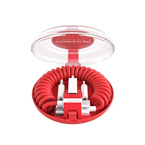 VONMÄHLEN allroundo All-in-One Ladekabel mit 5 Anschlüssen in Rot - Micro-USB, USB-C - Für Handy & Mobile Endgeräte - Kompatibel mit iPhone, Samsung, Huawei etc.