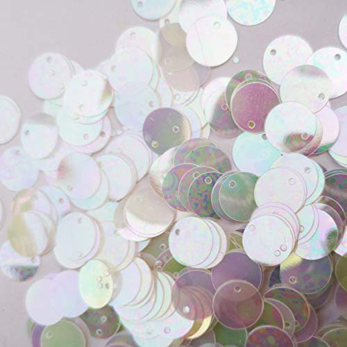 200pcs Flat Sequins Iridescent Spangles Craft Loose Sequins for Embroidery, Applique, Knitting, Arts, Crafts, and Embellishment (15mm)