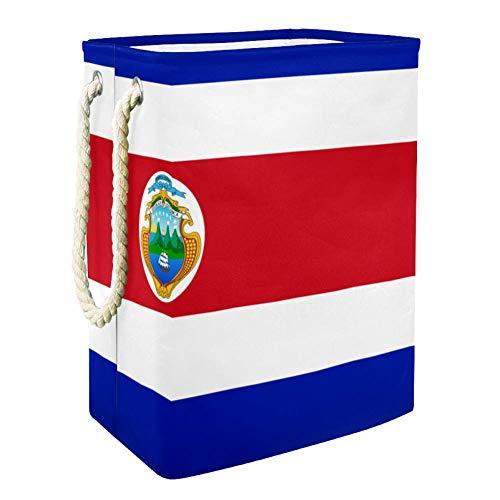TIZORAX - Cesta plegable para la colada, diseño de la bandera de Costa Rica, impermeable, con asas para la colada, dormitorio, baño, dormitorio