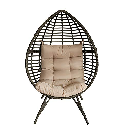 Sundale Outdoor All-Weather Wicker Lounge Chair, Gorgeous Rattan Egg Chair, Teardrop Design with Cushion for Outdoor/Indoor, Gray & Beige