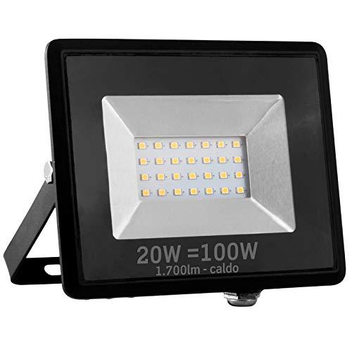 Faro LED impermeabile IP65 20W Nero (1700 lumen equivalenti a 100W) - Vetro trasparente - Luce Bianco Caldo 3000K - Fascio Luminoso 110°