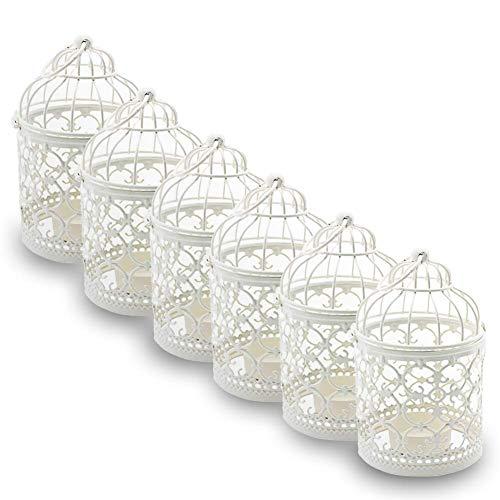 Ciaoed Cage À Oiseaux en Métal Lanterne Décorative Bougie Photophore Lanterne Maison de Mariage Décoration de Table Fer Bougie Bougeoir Lanterne Suspendue (6 x Blanc)