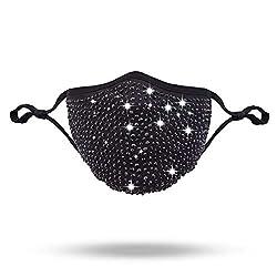 Black Crystal Rhinestone Masquerade Mask Necklace Jewelry