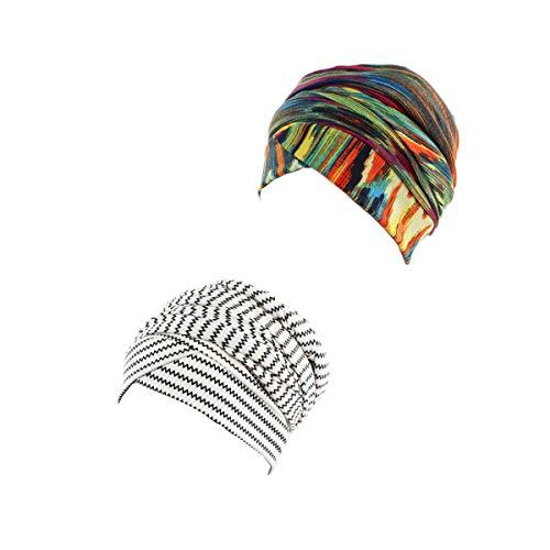 Ever Fairy Turban Head Wrap Scarf,African Women' Soft Long Scarf Shawl Hair Bohemian Headwrap Stretch Headband Tie (2pack-a)