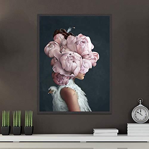 Lunderliny Arte De Pared Abstracto Impresión Flores Rosas Pájaro Y Cabeza De Niña Póster Lienzo Pintura Cuadros Decoración del Hogar Escandinavo 50x70cm