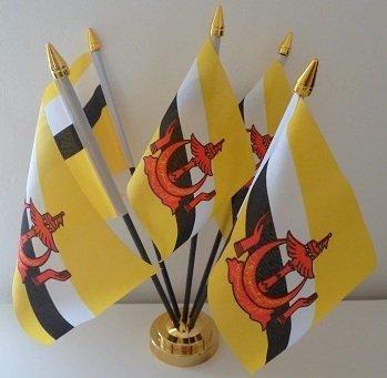5 Drapeau de Brunei Bruneian Tableau d'affichage de bureau avec Base dorée