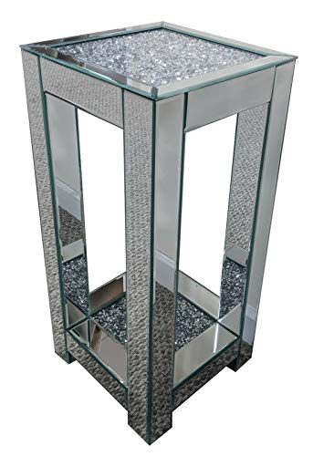 Sassy Home Mirrored Double Shelf Crushed Diamante Crystal Jewel Side Table, 65 x 30 x 36cm