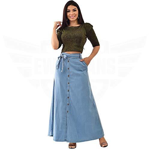 Saia Longa Jeans com botões Frontal e cinto - EWF Jeans – Azul Claro (44)