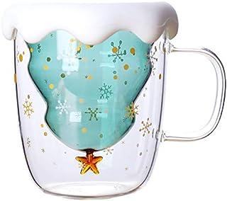 Phonleya Vasos de deseos de vidrio de doble pared - Aislamiento de doble capa Árbol de Navidad creativo Taza de café con a...