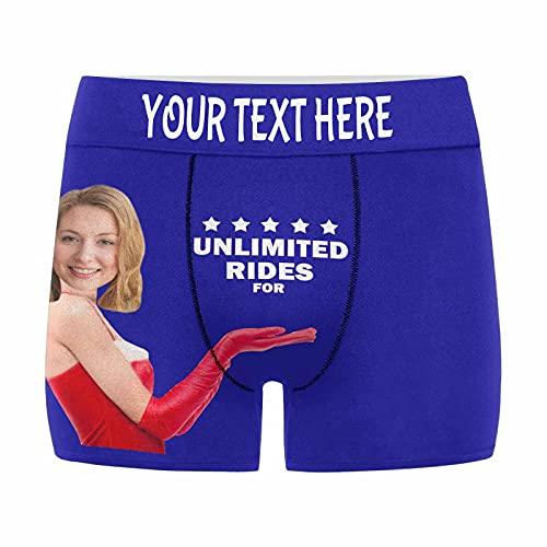 Custom Mens Boxer Briefs Personalized Sexy Underpants Briefs Ice Silk Smealess Underwear Blue
